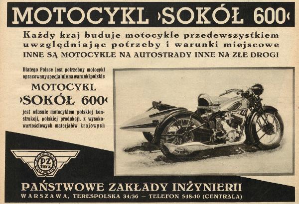 Reklama prasowa motocykla Sokół 600